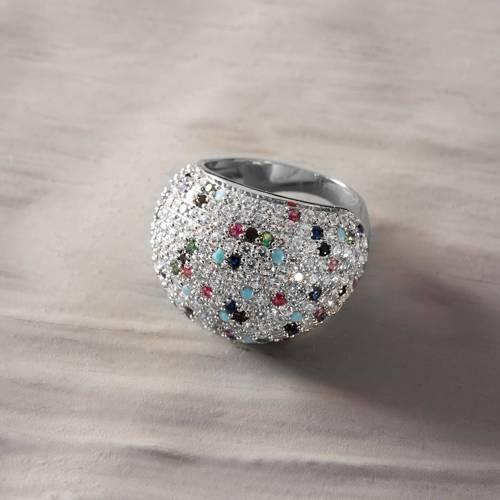 Rześkie poranki. Pierścionek z kolorowymi kryształkami w formie kuli